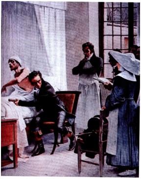 Изобретатель светоскопа - Рене Лэннек в больнице Неккера в Париже. Жан Шартан (1816 г.)